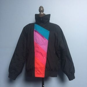 Vintage Aspen 80s Color Block Ski Jacket